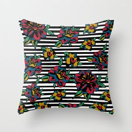 Stiped floral Throw Pillow