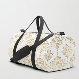 White & Gold Motif Duffle Bag