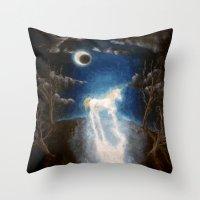 the last unicorn Throw Pillows featuring Last unicorn by Zuzana Ondrejkova