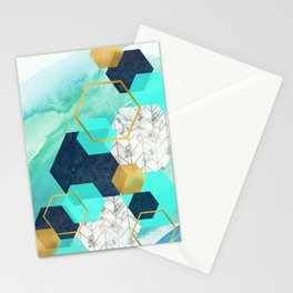Gold,Navy,Teal abstract hexagon art Stationery Cards