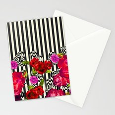 Flowers with Stripes and Hearts Stationery Cards