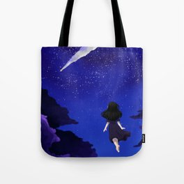 Behold the Galaxy - Anime Girl looking at the Stars Tote Bag