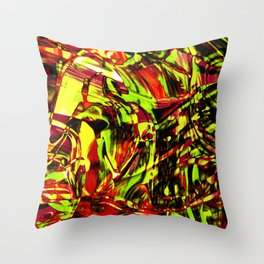 Fluid Painting 2 (Yellow Version) Throw Pillow