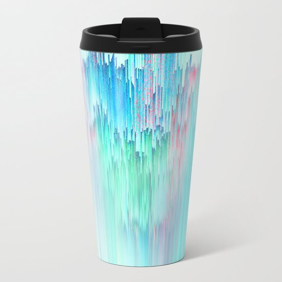 Rainbow Cascade Glitch Metal Travel Mug