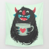 demon Wall Tapestries featuring Demon with a cup of coffee by Lime