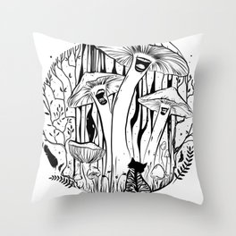The Singing Mushrooms & The Zebra Cat Throw Pillow