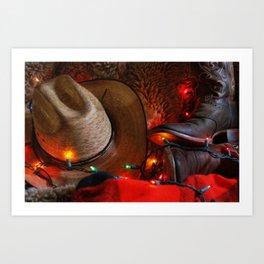 Cowboy Christmas I Art Print
