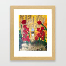150 Years of CU - An Alumni Anniversary Tribute with Red Tulip Flowers Framed Art Print