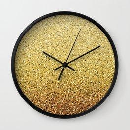 Gold Ombre Glitter Wall Clock
