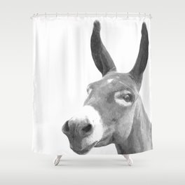 Black and white donkey Shower Curtain