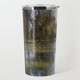 Old Weeping Willow Tree Standing Next To Pond Travel Mug