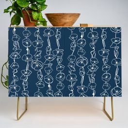 poppy vines on navy Credenza