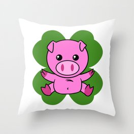 Pig On Four Leaf Clover - St. Patricks Day Funny Throw Pillow
