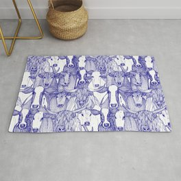 just cattle blue white Rug