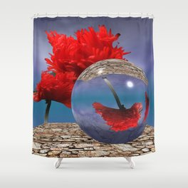 poppy and crystal ball - refraction of light Shower Curtain