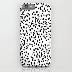 Nadia - Black and White, Animal Print, Dalmatian Spot, Spots, Dots, BW iPhone 6 Slim Case