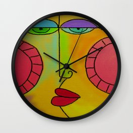 Funky Face Abstract Digital Painting Wall Clock