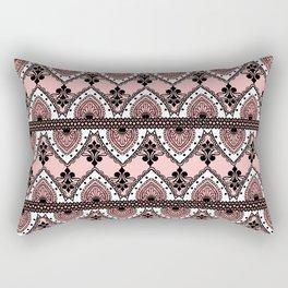 Blush Pink Black and White Ornate Lace Pattern Rectangular Pillow