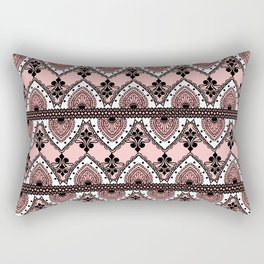 Blush Pink Black and White Ornate Lace Pattern Rectangular Pillow