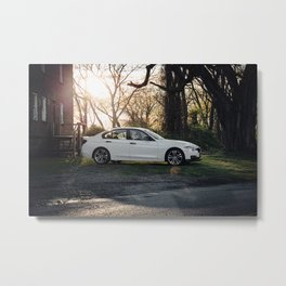 White Sports Car in the Woods (1 of 2) Metal Print