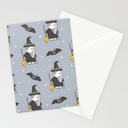 cute cartoon unicorn witch with broom and bats halloween pattern Stationery Cards