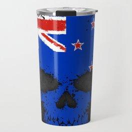 Flag of New Zealand on a Chaotic Splatter Skull Travel Mug