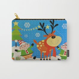 Elves and Reindeer Carry-All Pouch