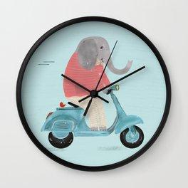 elephant scooter Wall Clock