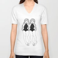 sister V-neck T-shirts featuring Sister Sister by Jessica Mae