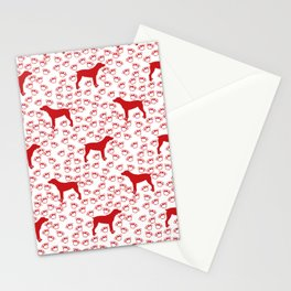 Big Red Dog and Paw Prints Stationery Cards