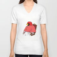 cardinal V-neck T-shirts featuring Cardinal by Jacob Waites