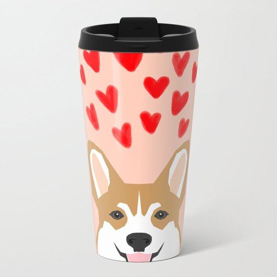 Valentines - Love Corgi  Metal Travel Mug