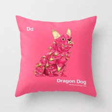 Dd - Dragon Dog // Half Dog, Half Dragon Fruit Throw Pillow