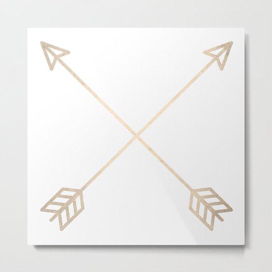 Adventure White Gold Arrows Metal Print