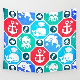 Marine Animals Geometric Pattern Wall Tapestry