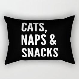 Cats, Naps & Snacks (Black) Rectangular Pillow