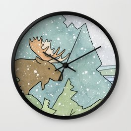 Moose in Snow Wall Clock