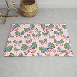 Cute butterflies pattern- pastel pink Rug