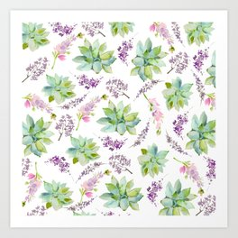 Blush lavender pink green watercolor cactus floral Art Print