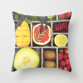 Fresh juices or smoothies with fruits and vegetables Throw Pillow
