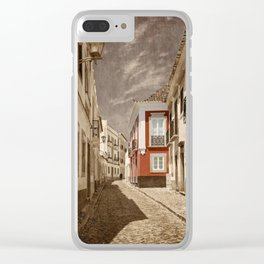 Sepia treatment of a cobbled street, Portugal Clear iPhone Case