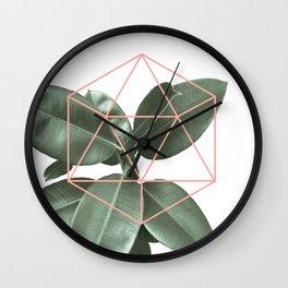 Geometric greenery Wall Clock
