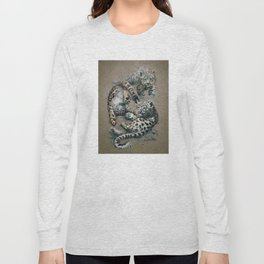 Snow leopard 2 background Long Sleeve T-shirt