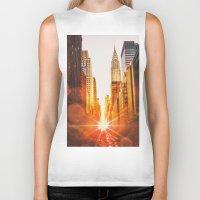 skyline Biker Tanks featuring NYC Skyline Sunset by Vivienne Gucwa