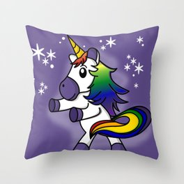 Flossing Rainbow Unicorn with Starry Background Throw Pillow