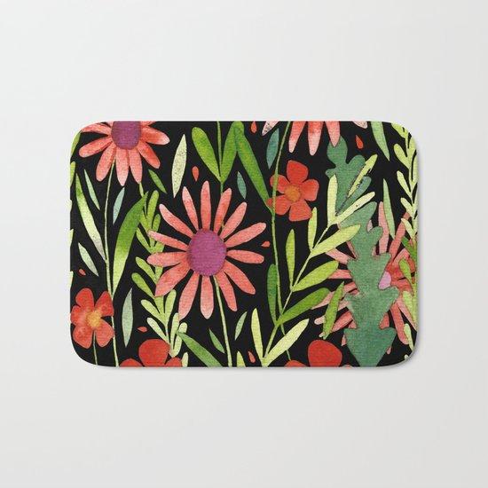 Flower Burst Orange and Black, floral pattern design Bath Mat