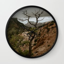 Colorful Mountaintop View with Withered Tree - Big Bend Wall Clock