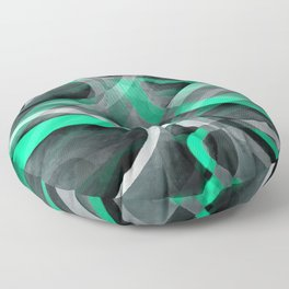 Eighties Snazzy Aqua and Grey Curved Line Pattern Floor Pillow