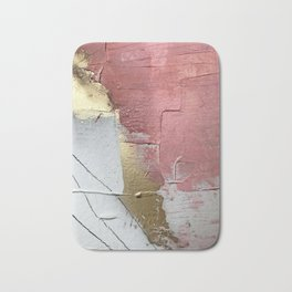 Darling: a minimal, abstract mixed-media piece in pink, white, and gold by Alyssa Hamilton Art Bath Mat