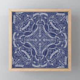 Doodles & Bits Lacy Blue Bandana Framed Mini Art Print